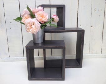 Square Wooden Wall Shelf Set | Shabby Chic Charcoal Grey Painted Shelves | Nesting, Floating Shelves
