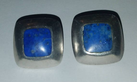 FREE SHIPPING-Vintage-1940's- Hallmarked-925-Sterling-Silver-Lapis-Mexico-Southwest-Clip On-Earrings