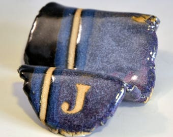 Business-card holder - J - purple and black