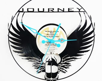 Journey Vinyl Record Clock, The Band journey, Steve Perry Journey Clock, Wall Clocks, Custom Clocks, Rock and Roll Clocks, Vinyl Records