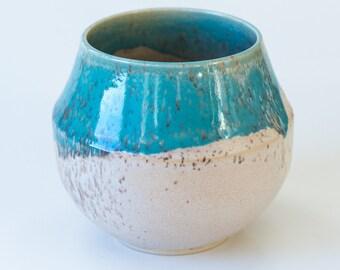 Modern Handmade Teal and Beige Vase