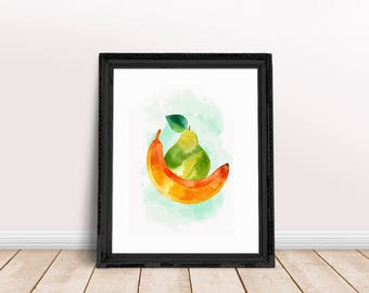 Kitchen Fruit Poster | Banana Fruit Art, Fruit Wall Poster, Banana Fruit Print, Banana Poster, Banana Wall Art, Kitchen Banana Decor,