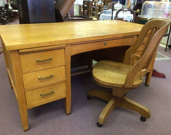 Vintage Santa Fe Railroad Desk And Chair