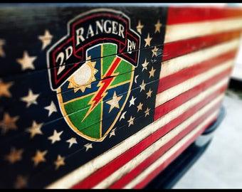 Army Ranger American Flag, US Army Ranger Flag, 2nd Ranger Battalion, Military Flag, American Flag, Rustic American Flag, Army Flag