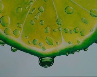 Water Drops on Lime