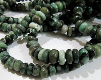 Natural Emerald Smooth Beads 9mm Size Beads , Rondelle Plain Untreated Gemstone Beads , Length 7 inches Long , Precious Birth Stone Beads.