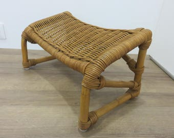 ottoman footstool rattan bamboo French 1960 1970's 60's 70's mid century french vintage rattan bamboo footrest