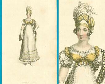 Antique 1818 Regency Ackermann fashion print yellow bodice gown turban shawl