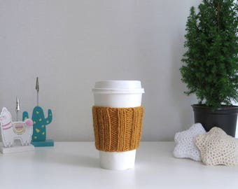 Mustard Yellow Coffee Cup Sleeve | Hand Knit Cup Cosy | Fits Starbucks Cup | Gifts For Her | Stocking Fillers | Tea Cosy | Knit Coffee Cosy