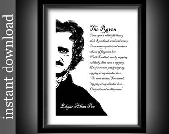 The Raven Printable, Instant Download, Edgar Allan Poe, Raven quote, library wall art, literature, poetry, black and white, goth, macabre