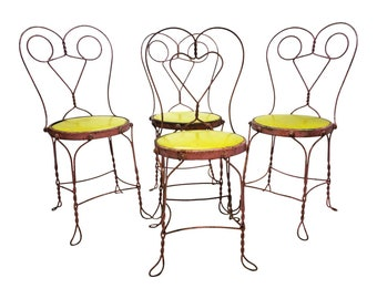 4 Vintage BISTRO CHAIR PAIR cafe mid century metal set ice cream parlor wire art deco modern antique wedding shabby cottage chic pink yellow