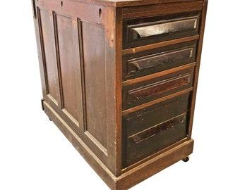 Vintage Industrial WOOD FILE CABINET brown filing drawer parts storage box bin 40s 50s desk man cave garage decor holder rolling pedestal