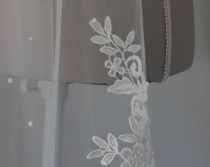 Lace flower Motif wedding veil finished with scattered pearls