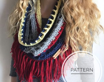 Crochet Scarf Pattern, Infinity Lace Scarf, Crochet Scarf Pattern, Mesh Scarf, Spring Scarf Pattern, The Melody Fringe Scarf