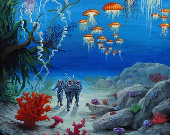 """20000 leagues under the sea """"Underwater Crespo Island landscape"""" painting from an engraving of Alphonse de Neuville"""