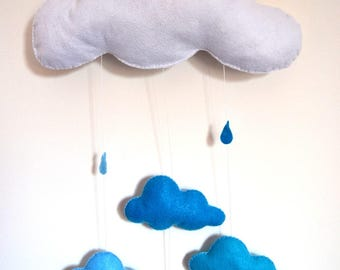decorative wall cloud white and blue hand made