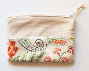 Ivory and Floral Print Make-up Bag, Flower Design Bag, Spring Floral Print Bag, Floral Print Bag, Cream and Floral Print Pouch, Cream Pouch