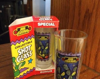 "Vintage set of Tall Jose Cuervo Tequila Shot Glasses. Lime and Cactus Clear Glass 4"" tall Shot Glasses with the Original Box. Like new."