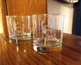 Vintage Pair of 1980's Imported Canadian Mist Low Ball Rock Glasses with Etched Moose. Glasses are like new and have never been used.