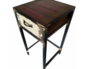 Industrial Metal and Wood Night Stand