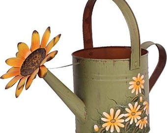 Hand painted watering can daiseys birthday gift garden lover gift, new home owner gift.