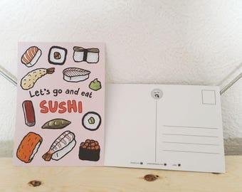 Let's Go and Eat Sushi Postcard - sushi card, sushi illustration, sushi theme, sushi background, sushi cartoon, dinner invitation