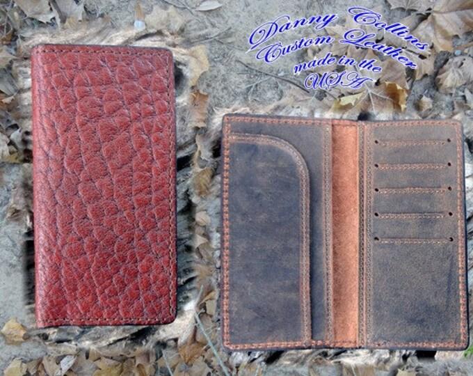 Shrunken Bull Hide Roper Wallet, Checkbook Wallet, Leather wallet