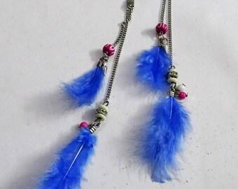 Blue feather long earring/ feather long earring/Feather tassel earring / long feather earring