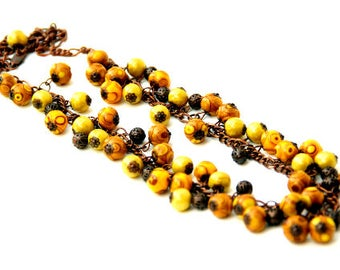 Long yellow necklace Long statement necklace Yellow beads necklace Polymer clay necklace Handmade beaded necklace Jewelry for women