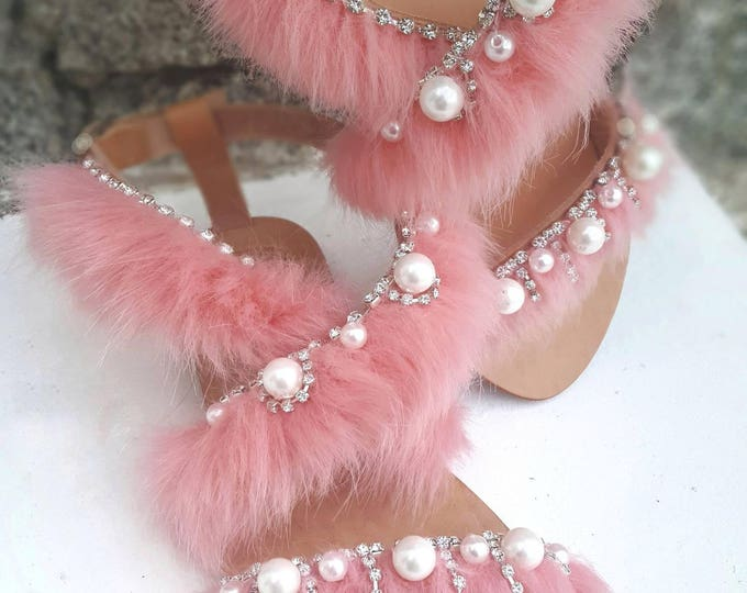 Greek sandals/fur/pearls sandals/crystals/women's shoes /fluffy sandals/pink sandals/handmade sandals/sew on Sandals/summer shoes/leather