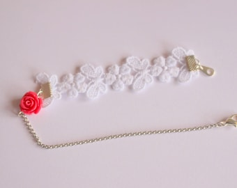Lace ankle bracelet, chain and rose pink