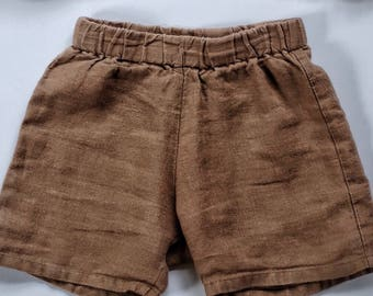 Kids linen shorts / flax linen / french seams / made in USA / ships plastic free