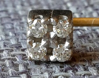 This is a stunning quality vintage 18ct gold and brilliant cut diamonds 0.20ct cube head stick pin