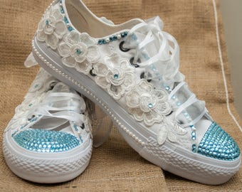 Customized wedding converse trainers with  crystals, lace & pearls. Wedding trainers, wedding converse, bridal Converse, with blue crystals