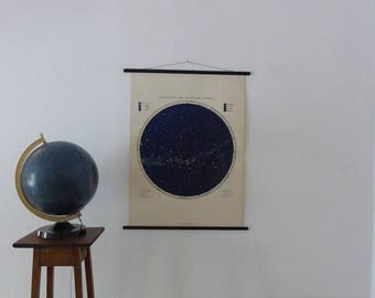 """ON Sale 20% OFF Large A1 (25"""" x 33"""") Vintage Star Map School Chart - Astronomy Poster - Astrology Poster - Southern Hemisphere Pull Down Cha"""