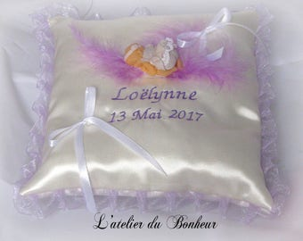 personalized pillow birth and christening Parma violet and white