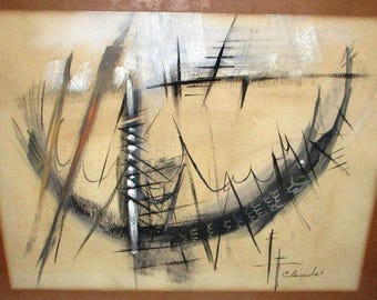 Rare Mid-Century Modern Cleade Enders Abstract Ship Painting Charcoal Swordfish Drawing Modernist Figural Art Framed Signed