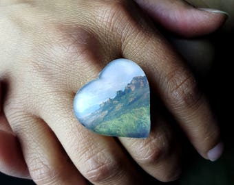Canyonlands National Park Puffy Heart Ring on Adjustable Filigree Base   Heart Ring Photo Ring Souvenir Ring Landscape Photography