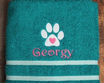 Dog Bath Towel - Personalized Dog Towel - Dog Towel - Custom Pet Towel - Dog Gift - Embroidered Towel - Dog Towel with Name - Custom Dog