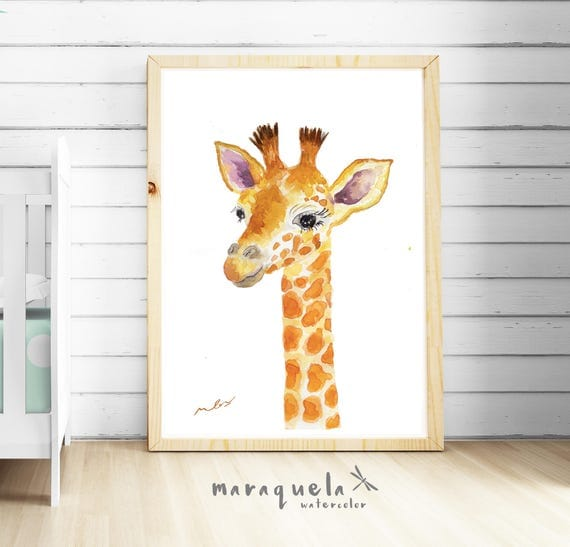 GIRAFFE illustrations for Kids in watercolor, CUSTOM name nursery decor. Cute prints, Baby art. Animals decoration, baby shower, kids room