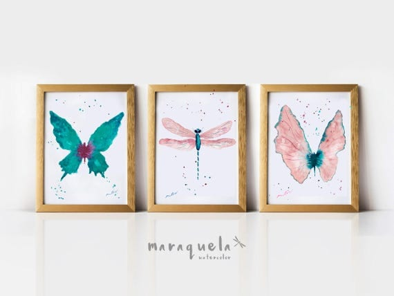 DISCOUNT Butterflies SET Light Pink and Blue hues. Watercolor painting set, woman, bedroom decor, living room, insects prints , gift for her