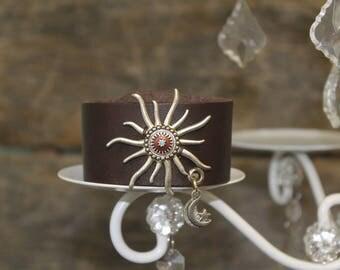 Leather Cuff Bracelet - Sun and Moon