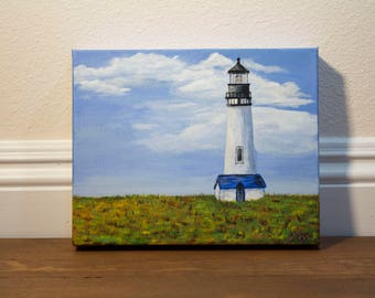 Lighthouse Original Acrylic Painting on 8 x 10 Canvas, Wall Art, Landscape