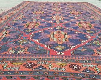 "Stunning 7'6""×11'11"" Antique Cr1900-1939s Armenian Nagorno-Karabakh Soumak Rug"