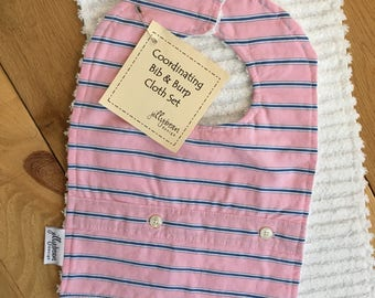 Pink with Blue & White Pinstripes Baby Bib and Burp Cloth Set / Handmade / Soft / Baby Shower / Cotton Fabric / Unique / Fancy / Dressed Up