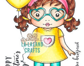 Lala Land Heart Glasses Marci Rubber Stamp