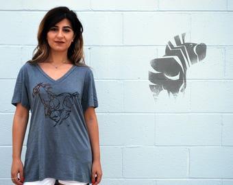 HORSE Tee - Animal Art - Women's Illustration Tee - Loose Fit V-Neck - David Colman Original Illustration