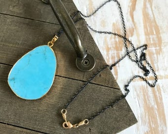 Magnesite Druzy Necklace|Gemstone Pendant Necklace|Mixed Metal Jewelry|Turquoise Necklace|Black Chain Necklace|Boho Chic Long Necklace