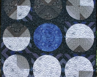 """MOONSHINE  Moon inspired art quilt 52"""" x 52"""" Original, modern, wall quilt with moon phases and Earth.Lunar surface fabric, gray black & blue"""
