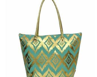 Personalized Gold Ikat Shoulder Bag - Mint